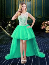 Discount Turquoise Ball Gowns Organza and Lace Scoop Sleeveless Lace High Low Zipper Homecoming Dress