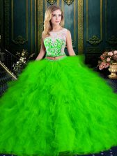 Scoop Floor Length 15 Quinceanera Dress Tulle Sleeveless Lace and Ruffles