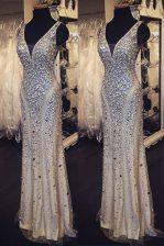 Delicate Column/Sheath Prom Gown Champagne V-neck Organza Sleeveless Floor Length Zipper
