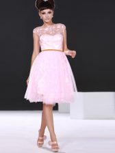 High Quality Scoop Lace Evening Dress Baby Pink Zipper Cap Sleeves Knee Length