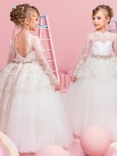 Scoop Long Sleeves Lace and Bowknot Backless Flower Girl Dresses
