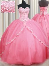 Most Popular Watermelon Red Sleeveless Brush Train Beading and Appliques With Train 15th Birthday Dress