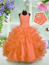 Orange Halter Top Neckline Beading and Ruffled Layers Pageant Gowns For Girls Sleeveless Lace Up