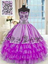 Glittering Purple Sweetheart Neckline Beading and Embroidery and Ruffled Layers Sweet 16 Dresses Sleeveless Lace Up
