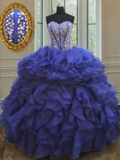 Stylish Sleeveless Lace Up Floor Length Beading and Ruffles Vestidos de Quinceanera