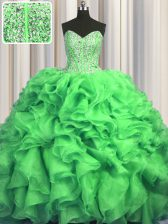Lovely Visible Boning Bling-bling Sleeveless Sweep Train Beading and Ruffles Lace Up Ball Gown Prom Dress