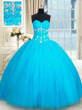 Shining Baby Blue Tulle Lace Up Sweetheart Sleeveless Floor Length Sweet 16 Dresses Beading