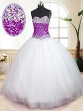 Floor Length White Sweet 16 Quinceanera Dress Tulle Sleeveless Beading