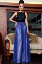 Charming Sleeveless Side Zipper Floor Length Beading and Appliques Prom Party Dress