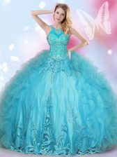 Halter Top Aqua Blue Ball Gowns Beading and Appliques Quince Ball Gowns Lace Up Tulle Sleeveless Floor Length