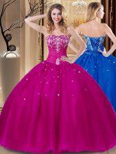 Floor Length Fuchsia Sweet 16 Dress Sweetheart Sleeveless Lace Up