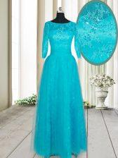 Deluxe Floor Length Teal Evening Dress Scoop Half Sleeves Zipper