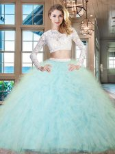 Beautiful Aqua Blue Two Pieces Tulle Scoop Long Sleeves Beading and Lace and Ruffles Floor Length Zipper Quinceanera Dress