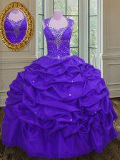 Eggplant Purple Straps Lace Up Beading and Pick Ups Sweet 16 Dresses Sleeveless