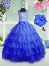 Elegant Beading and Ruffled Layers Little Girls Pageant Dress Wholesale Royal Blue Zipper Sleeveless Floor Length