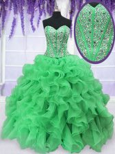 Fashion Floor Length Ball Gowns Sleeveless Green Sweet 16 Dress Lace Up