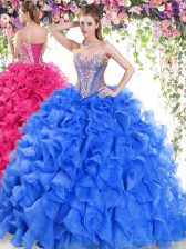 Stunning Sweetheart Sleeveless Sweep Train Lace Up Ball Gown Prom Dress Blue Organza