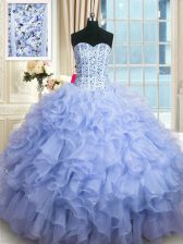 Lavender Sweetheart Lace Up Beading and Ruffles Quinceanera Gown Sleeveless