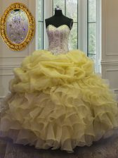 On Sale Gold Ball Gowns Sweetheart Sleeveless Organza Floor Length Lace Up Beading and Ruffles and Pick Ups Ball Gown Prom Dress