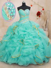 Clearance Sleeveless Beading and Ruffles and Sequins Lace Up Sweet 16 Quinceanera Dress