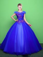 Fantastic Scoop Blue Short Sleeves Tulle Lace Up Vestidos de Quinceanera for Military Ball and Sweet 16 and Quinceanera