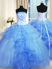 Artistic Blue Sleeveless Floor Length Pick Ups and Hand Made Flower Lace Up 15 Quinceanera Dress