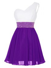 Attractive Mini Length White And Purple Prom Dress One Shoulder Sleeveless Zipper