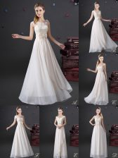 Glamorous White Damas Dress Prom and Party and Wedding Party with Lace and Appliques and Bowknot V-neck Sleeveless Zipper