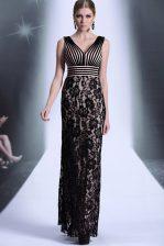 Empire Evening Dress Black V-neck Chiffon and Lace Sleeveless Floor Length Zipper