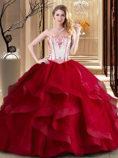 Pretty Wine Red Sleeveless Tulle Lace Up Quinceanera Dress for Military Ball and Sweet 16 and Quinceanera