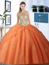 Captivating Orange Halter Top Neckline Embroidery and Pick Ups 15th Birthday Dress Sleeveless Lace Up
