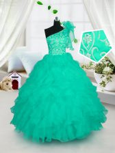 One Shoulder Turquoise Sleeveless Embroidery and Ruffles Floor Length Little Girls Pageant Gowns