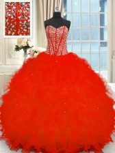 Dramatic Floor Length Red Sweet 16 Dresses Strapless Sleeveless Lace Up