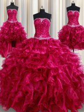 Fancy Four Piece Floor Length Ball Gowns Sleeveless Burgundy Quinceanera Gown Lace Up