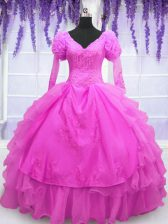 Delicate Hot Pink Ball Gowns Organza V-neck Long Sleeves Beading and Embroidery and Hand Made Flower Floor Length Lace Up Quinceanera Gown