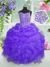 High Class Pick Ups Lavender Sleeveless Organza Lace Up Kids Pageant Dress for Party and Wedding Party