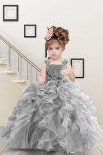 Grey Organza Lace Up Straps Sleeveless Floor Length Little Girls Pageant Gowns Beading and Ruffles