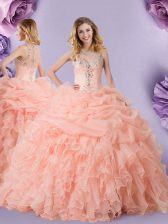 Romantic Peach Quince Ball Gowns Military Ball and Sweet 16 and Quinceanera with Beading and Ruffles and Pick Ups Straps Sleeveless Zipper