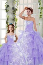 Artistic Strapless Sleeveless Organza Ball Gown Prom Dress Embroidery and Ruffled Layers Lace Up