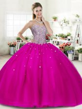 Glorious Fuchsia Lace Up Quinceanera Dress Beading Sleeveless Floor Length