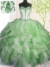 Custom Made Floor Length Lace Up 15th Birthday Dress Green for Military Ball and Sweet 16 and Quinceanera with Beading and Ruffles