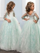 Attractive Apple Green A-line Lace Scoop 3 4 Length Sleeve Lace Floor Length Clasp Handle Kids Pageant Dress