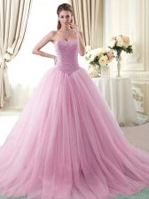 Luxury Rose Pink Ball Gowns Sweetheart Sleeveless Tulle With Brush Train Lace Up Beading 15 Quinceanera Dress