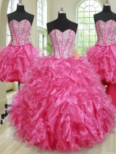 Elegant Four Piece Sleeveless Organza Floor Length Lace Up 15th Birthday Dress in Hot Pink with Beading and Ruffles