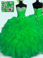 Dazzling Sleeveless Organza Floor Length Lace Up Quinceanera Gown in Green with Beading and Ruffles