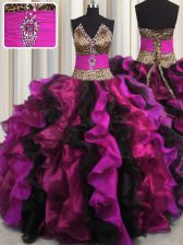 Wonderful Leopard V Neck Multi-color Lace Up 15 Quinceanera Dress Beading and Ruffles Sleeveless Floor Length