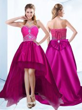 Fuchsia Satin Lace Up Sleeveless With Brush Train Beading and Ruching