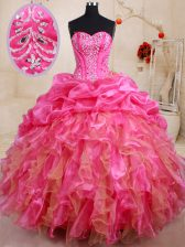 Pretty Hot Pink Sleeveless Floor Length Beading and Ruffles and Pick Ups Lace Up Quinceanera Dresses