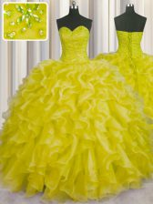 Artistic Sleeveless Lace Up Floor Length Beading and Ruffles 15 Quinceanera Dress