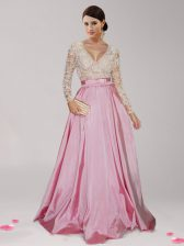 Long Sleeves Floor Length Beading and Belt Zipper Homecoming Dress with Pink And White